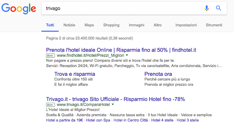esempio di query su Google.it