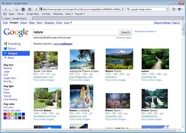 Ricerca immagini Google vecchio layout