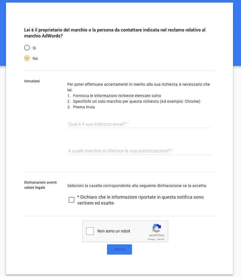 Modulo Adwords per scoprire il proprietario di un marchio registrato