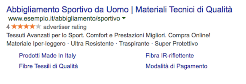 Esempio di annuncio pubblicitario in Google Adwords