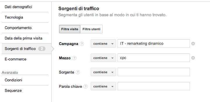 Segmenti di remarketing