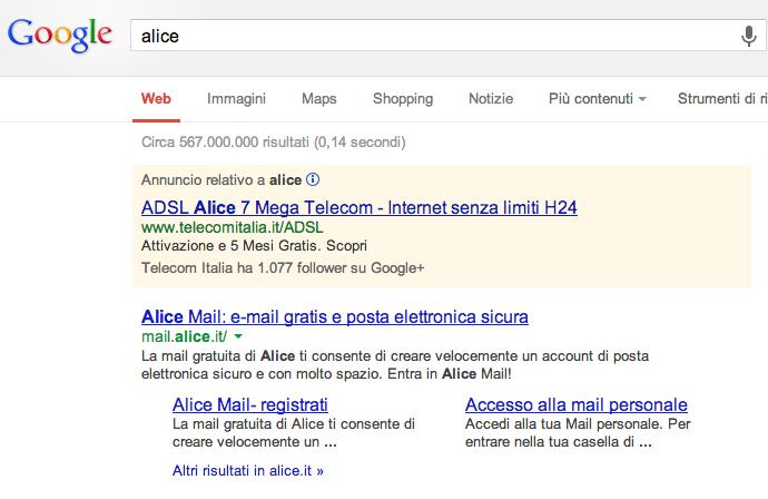 Annuncio Alice Telecom