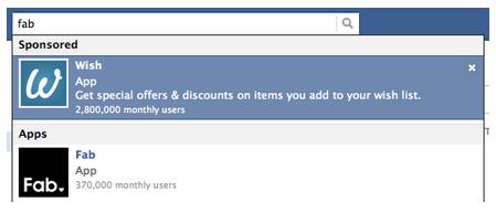 Risultati sponsorizzati di Facebook #1