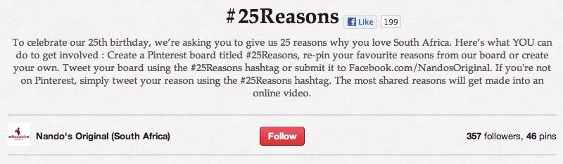 Nando's #25 reasons board su Pinterest