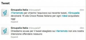 Groupalia e il tweet sul terremoto 2/2