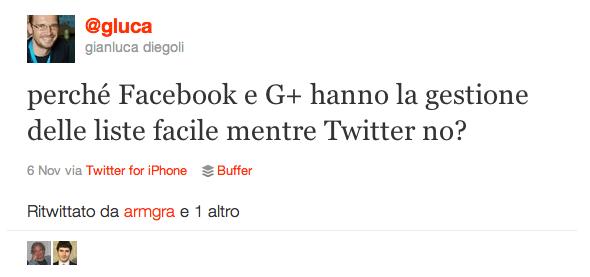 Tweet di Gianluca Diegoli (@gluca) sulle liste di contatti
