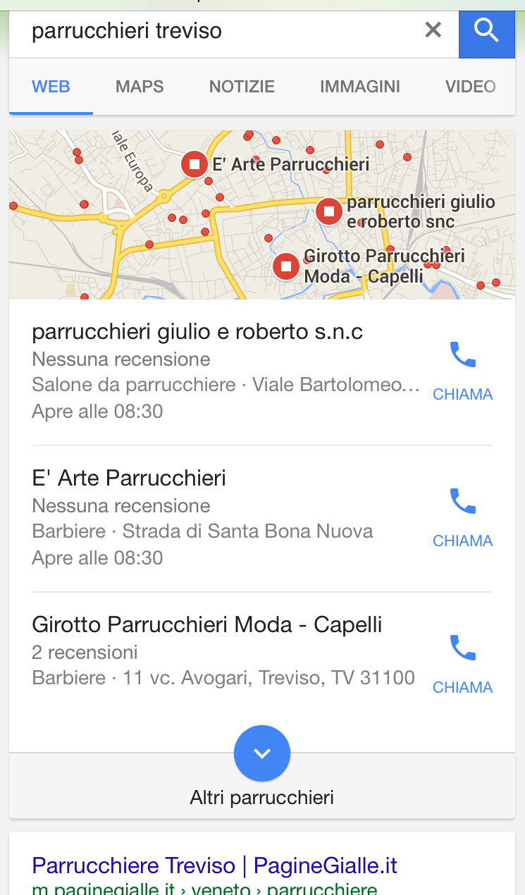 "Local pack mobile per ""Parrucchieri Treviso"""