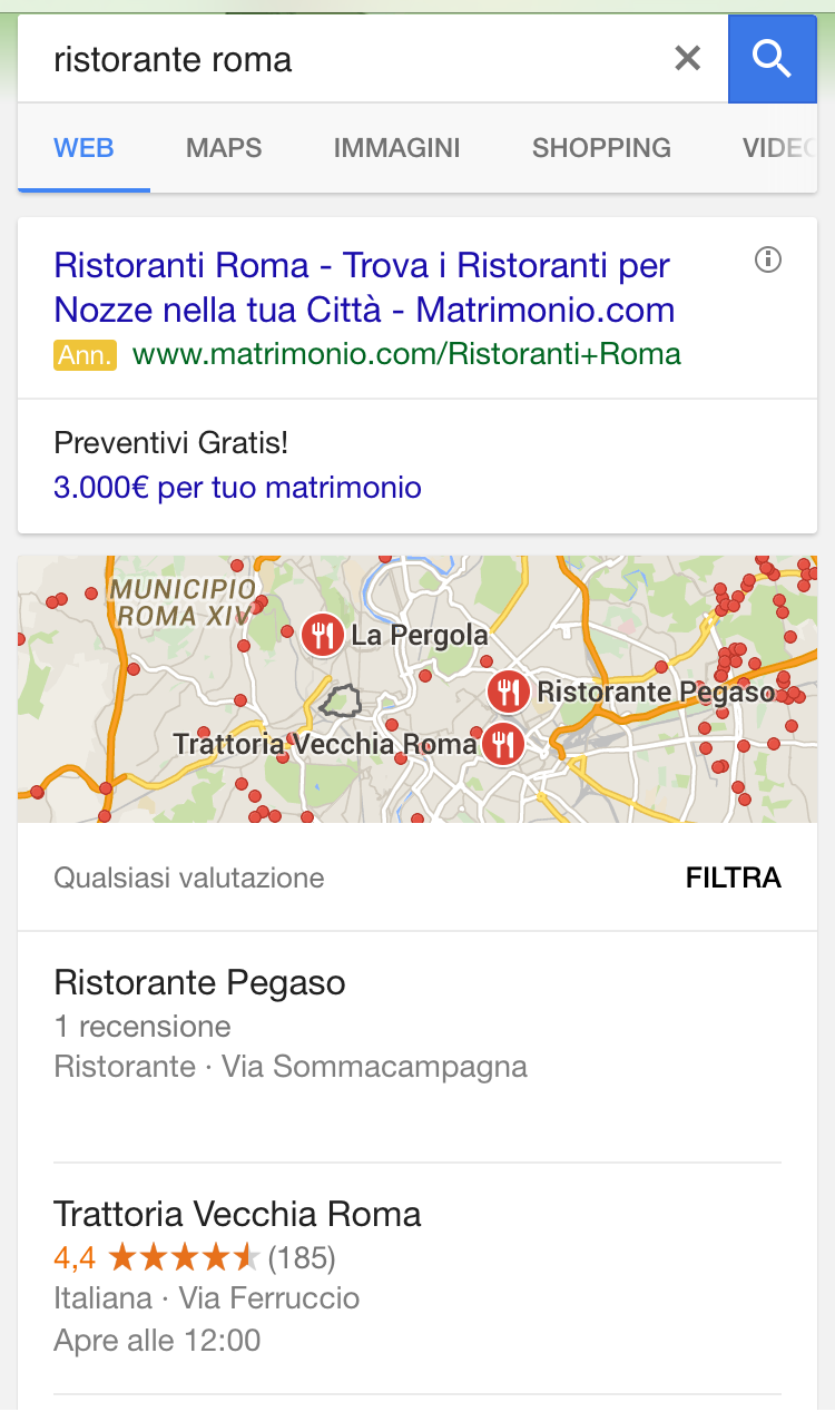"Local pack mobile per ""Ristorante Roma"""