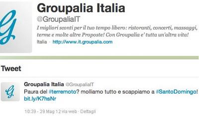 Groupalia e il tweet sul terremoto 1/2