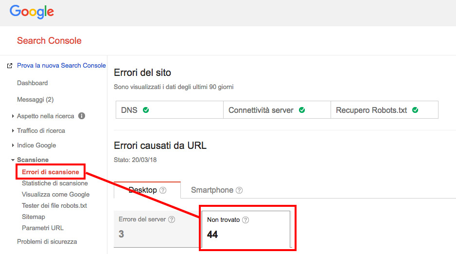 Search Console errori di scansione