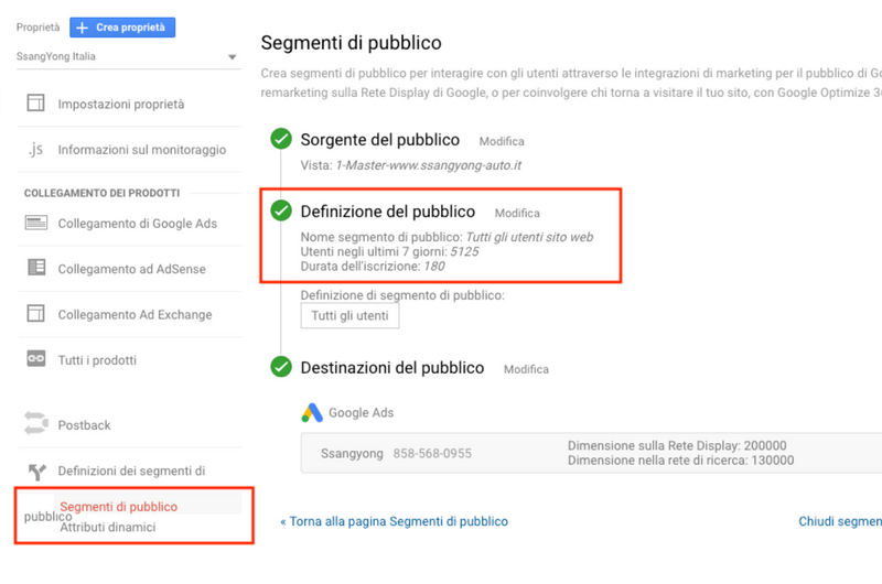 segmento di pubblico in Google Analytics