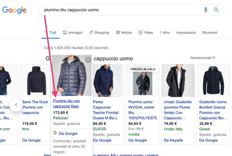 google shopping piumino blu cappuccio