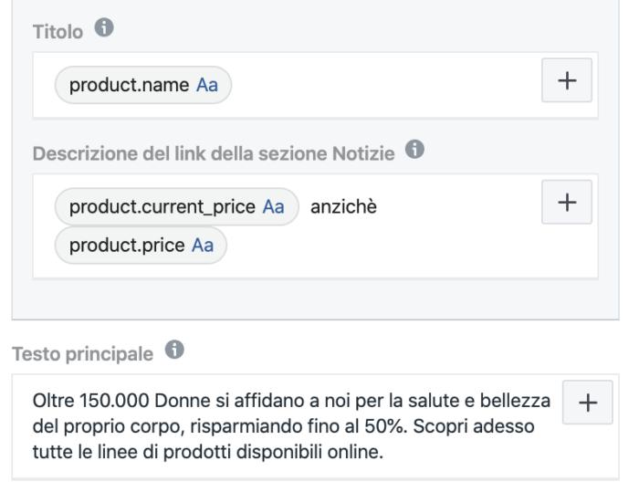 Variabili dinamiche Facebook