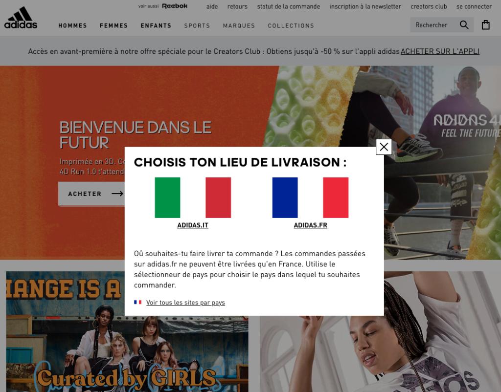 Homepage Adidas.fr con banner del mercato