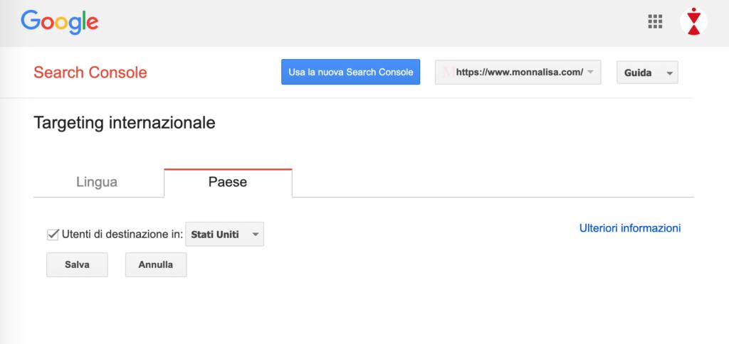 Schermata di Search Console per impostazione Targeting Internazionale