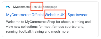 Snippet di ricerca ecommerce inglese